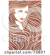 Royalty Free RF Clipart Illustration Of A Stunning Woman With Long Hair Flowing Around Her Face Orange Black And White Coloring