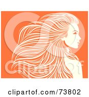 Royalty Free RF Clipart Illustration Of A Beautiful Orange And White Woman With Long Hair Flowing Behind Her by elena