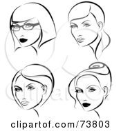 Royalty Free RF Clipart Illustration Of A Digital Collage Of Black And White Ladies With Four Hair Styles