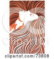 Royalty Free RF Clipart Illustration Of A Beautiful Woman With Long Hair Flowing Around Her Face Orange Black And White Coloring