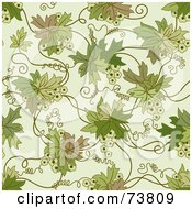 Royalty Free RF Clipart Illustration Of A Seamless Background Of A Green Floral Vine With Tendrils On Off White by elena