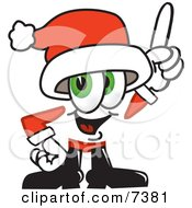 Clipart Picture Of A Santa Claus Mascot Cartoon Character Pointing Upwards