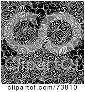 Royalty Free RF Clipart Illustration Of A Seamless Background Of Black And White Flowers And Leaves by elena