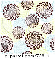 Royalty Free RF Clipart Illustration Of A Seamless Background Of Brown Green And Blue Spiral Flowers by elena