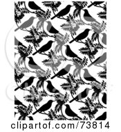 Royalty Free RF Clipart Illustration Of A Repeat Background Of Black Birds And Leaves On White by elena