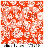 Royalty Free RF Clipart Illustration Of A Seamless Background Of White Flowers And Stems On Red by elena