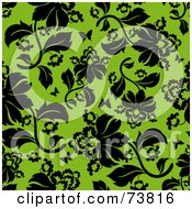 Royalty Free RF Clipart Illustration Of A Seamless Background Of Black Flowers And Butterflies On Green by elena