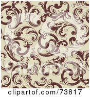 Royalty Free RF Clipart Illustration Of A Seamless Background Of Brown Floral Scrolls Over Beige by elena
