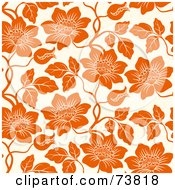 Royalty Free RF Clipart Illustration Of A Seamless Background Of Orange Flowers On Off White by elena