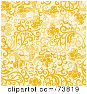 Royalty Free RF Clipart Illustration Of A Seamless Background Of Yellow Flowers And Vines On Beige by elena
