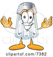 Clipart Picture Of A Salt Shaker Mascot Cartoon Character With Welcoming Open Arms by Toons4Biz