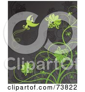 Royalty Free RF Clipart Illustration Of A Gray Background With Green Flowers And A Bird by elena
