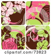 Royalty Free RF Clipart Illustration Of A Brown Green And Pink Tiled Background With Flowers by elena