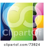 Royalty Free RF Clipart Illustration Of A Digital Collage Of Colorful Halftone And Wave Backgrounds by elena