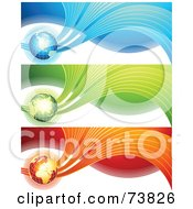 Royalty Free RF Clipart Illustration Of A Digital Collage Of Blue Green And Red Global Wave Wave Banners by elena