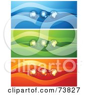 Royalty Free RF Clipart Illustration Of A Digital Collage Of Three Blue Green And Red Globe Banners by elena
