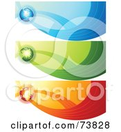 Royalty Free RF Clipart Illustration Of A Digital Collage Of Blue Green And Red Globe Communication Banners by elena