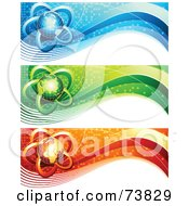 Royalty Free RF Clipart Illustration Of A Digital Collage Of Blue Green And Red Communication Globe Banners by elena
