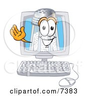 Clipart Picture Of A Salt Shaker Mascot Cartoon Character Waving From Inside A Computer Screen