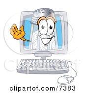 Salt Shaker Mascot Cartoon Character Waving From Inside A Computer Screen