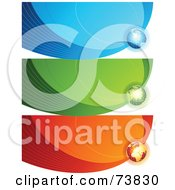 Royalty Free RF Clipart Illustration Of A Digital Collage Of Three Blue Green And Red Communication Wave Globe Banners by elena