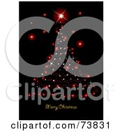 Royalty Free RF Clipart Illustration Of A Red Sparkle Christmas Tree And Merry Christmas Greeting On Black by MilsiArt