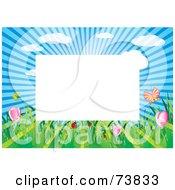 Royalty Free RF Clipart Illustration Of A Border Of Sunshine Insects And Spring Flowers Around White Space