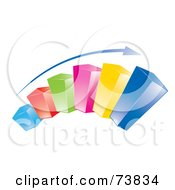 Royalty Free RF Clipart Illustration Of A Blue Arrow Over A Curved 3d Colorful Bar Graph