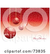 Royalty Free RF Clipart Illustration Of A Merry Christmas Greeting With Sparkly Red Ornaments And Snow On Red by MilsiArt