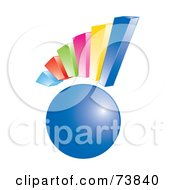Royalty Free RF Clipart Illustration Of A 3d Colorful Bar Graph Over A Blue Orb