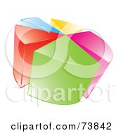 Royalty Free RF Clipart Illustration Of A 3d Vibrant Colorful Pie Chart Over White