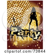 Royalty Free RF Clipart Illustration Of A Silhouetted Lady Dancing Over A Golden Disco Party Background