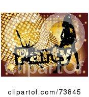Royalty Free RF Clipart Illustration Of A Silhouetted Lady Dancing By Golden Disco Balls And Party Text