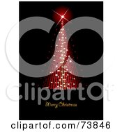 Royalty Free RF Clipart Illustration Of A Merry Christmas Greeting Under A Red Conical Sparkly Christmas Tree On Black by MilsiArt