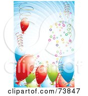 Royalty Free RF Clipart Illustration Of A Swirly Vortex Of Colorful Balloons And Confetti Over Blue by MilsiArt