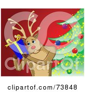 Royalty Free RF Clipart Illustration Of A Black And White Outline Of A Reindeer Shaking A Present By A Christmas Tree