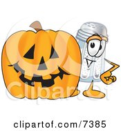 Salt Shaker Mascot Cartoon Character With A Carved Halloween Pumpkin