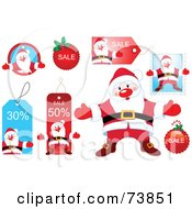 Royalty Free RF Clipart Illustration Of A Digital Collage Of Santa And Christmas Retail Tags