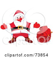 Royalty Free RF Clipart Illustration Of A Welcoming Santa In His Suit Standing By A Red Toy Sack