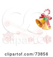Royalty Free RF Clipart Illustration Of A Candy Cane With Holly And Christmas Bells Over A White With Red Snowflakes by Pushkin