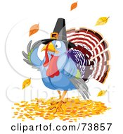 Thanksgiving Turkey Pilgrim Wearing A Hat And Standing In Autumn Leaves