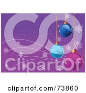 Royalty Free RF Clipart Illustration Of A Purple Snowflake Background With Blue And Purple Hanging Ornaments by Pushkin