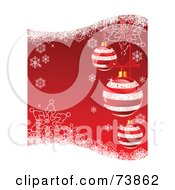 Royalty Free RF Clipart Illustration Of A Red Christmas Background With Striped Ornaments Snowflakes And Grunge by Pushkin