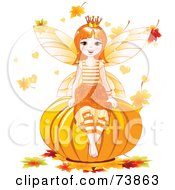Autumn Fairy Sitting On A Pumpkin Surrounded By Falling Leaves