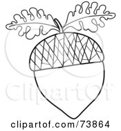 Royalty Free RF Clipart Illustration Of A Black And White Acorn Outline With Oak Leaves by Pams Clipart