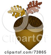 Royalty Free RF Clipart Illustration Of A Brown Acorn With Two Autumn Oak Leaves by Pams Clipart