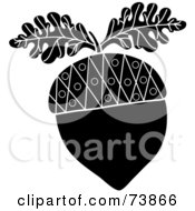 Royalty Free RF Clipart Illustration Of A Black And White Acorn With Two Oak Leaves by Pams Clipart