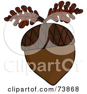 Royalty Free RF Clipart Illustration Of A Brown Acorn With Two Brown Oak Leaves by Pams Clipart