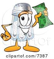 Salt Shaker Mascot Cartoon Character Holding A Dollar Bill