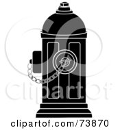 Royalty Free RF Clipart Illustration Of A Black And White Fire Hydrant With A Chain by Pams Clipart